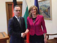 Външният министър на Германия Хайко Маас разговаря с българския си колега Екатерина Захариева