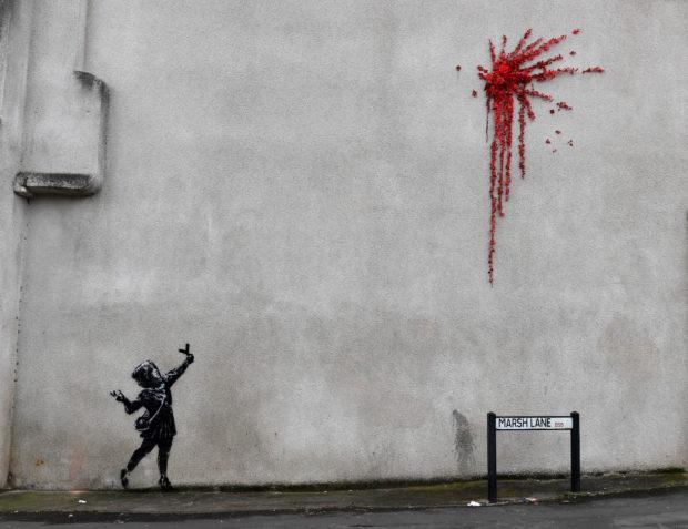 Британският стрийт художник Банкси зарадва жителите на родния си Бристъл с нов графит